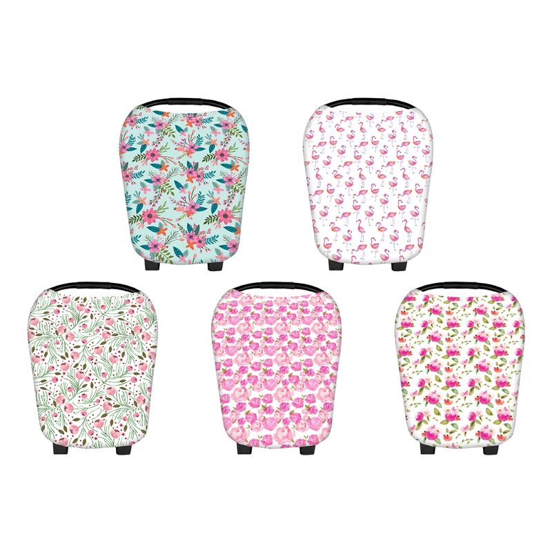 Floral Stretchy Newborn Infant Nursing Cover Baby Car Seat Cover