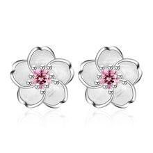 Flor de cerejeira flor brincos de cristal brincos de prata cor orelha studs feminino jóias finas dia das mães presente de aniversário