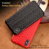 Natural Python Skin Phone Case For LG G5 G6 G7 Q6 V20 V30 Plus Cover Luxury Real Snake Skin Phone Back Case