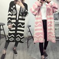 Geometric Printed Loose Long Cardigan Women Casual Long Sleeve Plus Size Long Sweater 2 Colors Sueter Mujer Knitted Cardigan