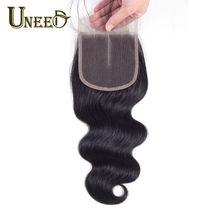 Fechamento suíço do laço da onda do corpo do cabelo de uneed livre/fechamento médio da parte remy fechamento brasileiro do laço do cabelo humano 120% densidade 10