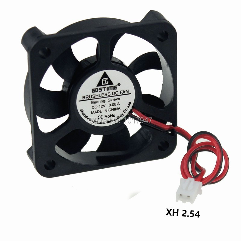 1PCS Gdstime DC 12V 2P Brushless Cooling Fan 5cm 50mm 50x50x10mm 5010S 5010s dc 12v 0 1a brushless cooling fan 4 2cm diameter page 1