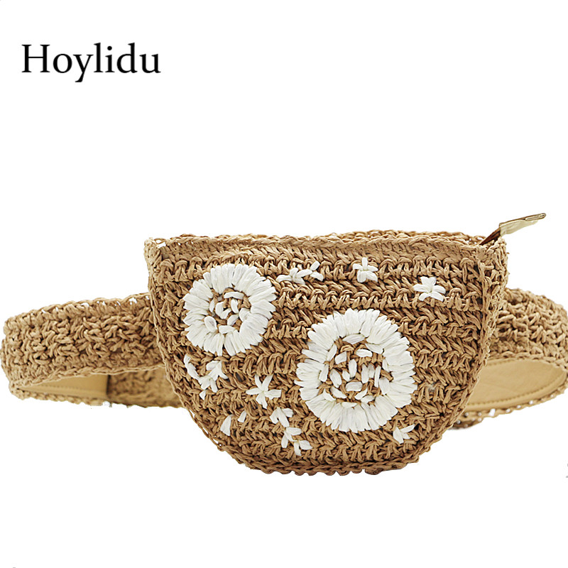 Women Straw Waist Pack Bohemian Beach Rattan Hand Woven Flower Embroidery Travel Bags For Lady Knitted Zipper Crossbody Bag Belt chic hand written letter embroidery brim sun resistant straw hat for women