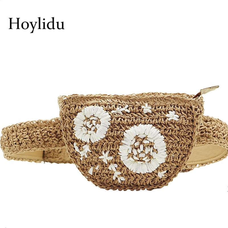 Women Straw Waist Pack Bohemian Beach Rattan Hand Woven Flower Embroidery Travel Bags For Lady Knitted Zipper Crossbody Bag Belt