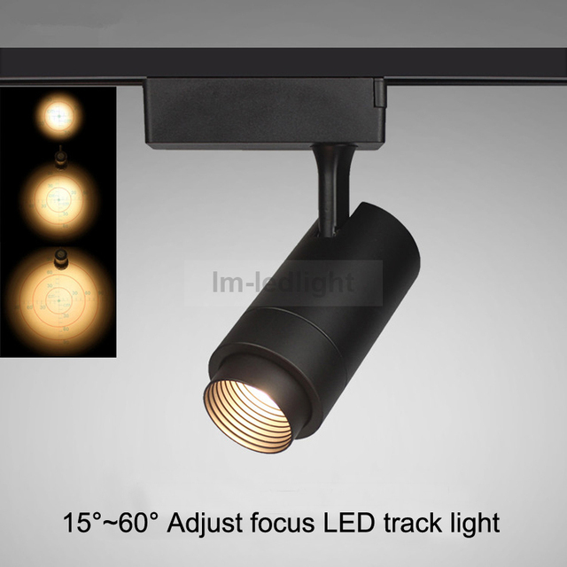 Adjust Zoom 4 Wire 3 Phase Led Showroom Lights 30w In White Black Track Head