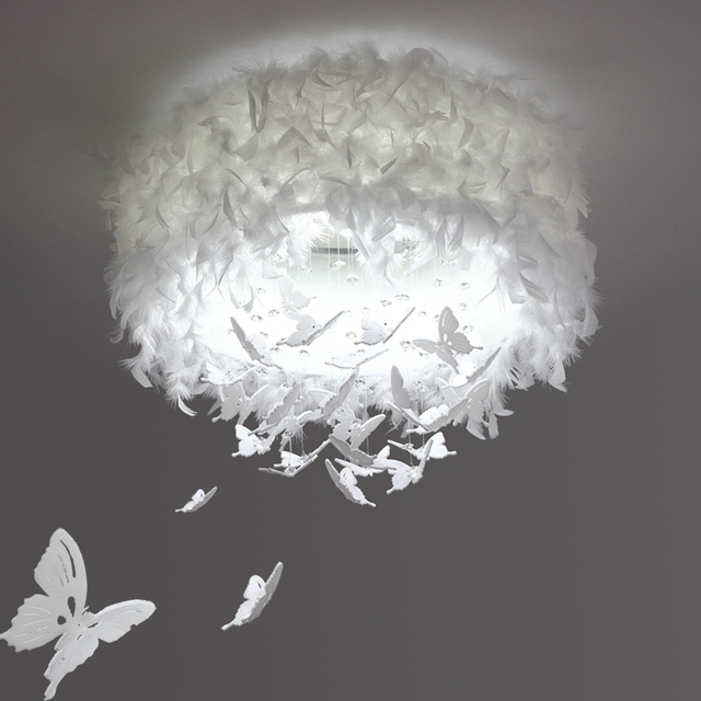 Regron Romantic Ceiling Lighting Modern White Butterfly Feather Led Ceiling Lamp Art Deco Wedding Luminary For Hotel Bedroom