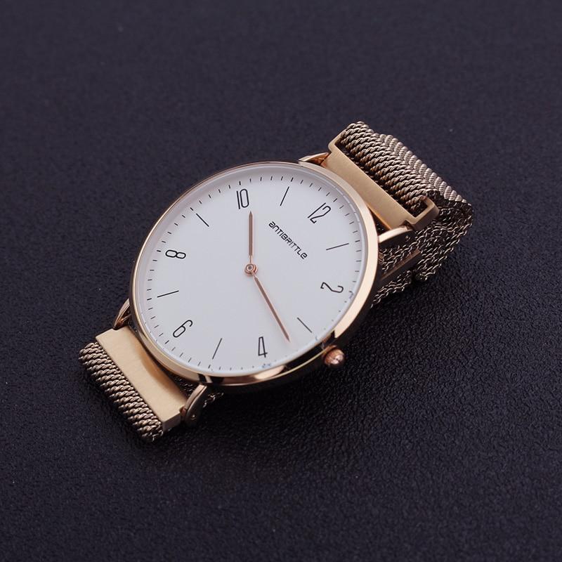 Quartz Watches Japan Quartz Luxury Men Minimalist Watch Women Ultra Thin Rose Gold Mesh Stainless Steel Genuine Leather Magnet Strap Arabic New Watches