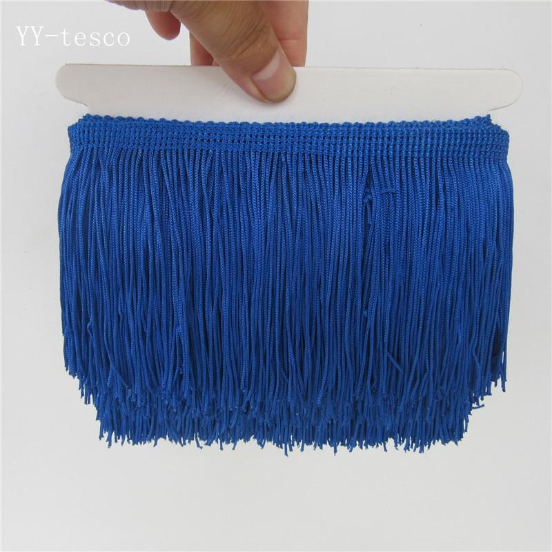 1 ярд, бахрома, отделка с кисточками, кружево, латинское платье, макраме, Самба, Одежда для танцев, кружево, полиэстер, одна полоса, ширина 10 см - Цвет: Royal blue