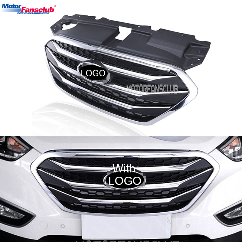 Car Racing Grille For Hyundai ix35 Tucson 2013-2015 Grill Emblems ABS Radiator Chrome Mesh Decoration Front Bumper Replacement