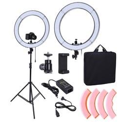 Световое кольцо для фотостудии, лампа для фото- и видеосъемки и макияжа 45,72 см 55 Вт 240 светодиодов 5500K со штативом для камеры 190 см