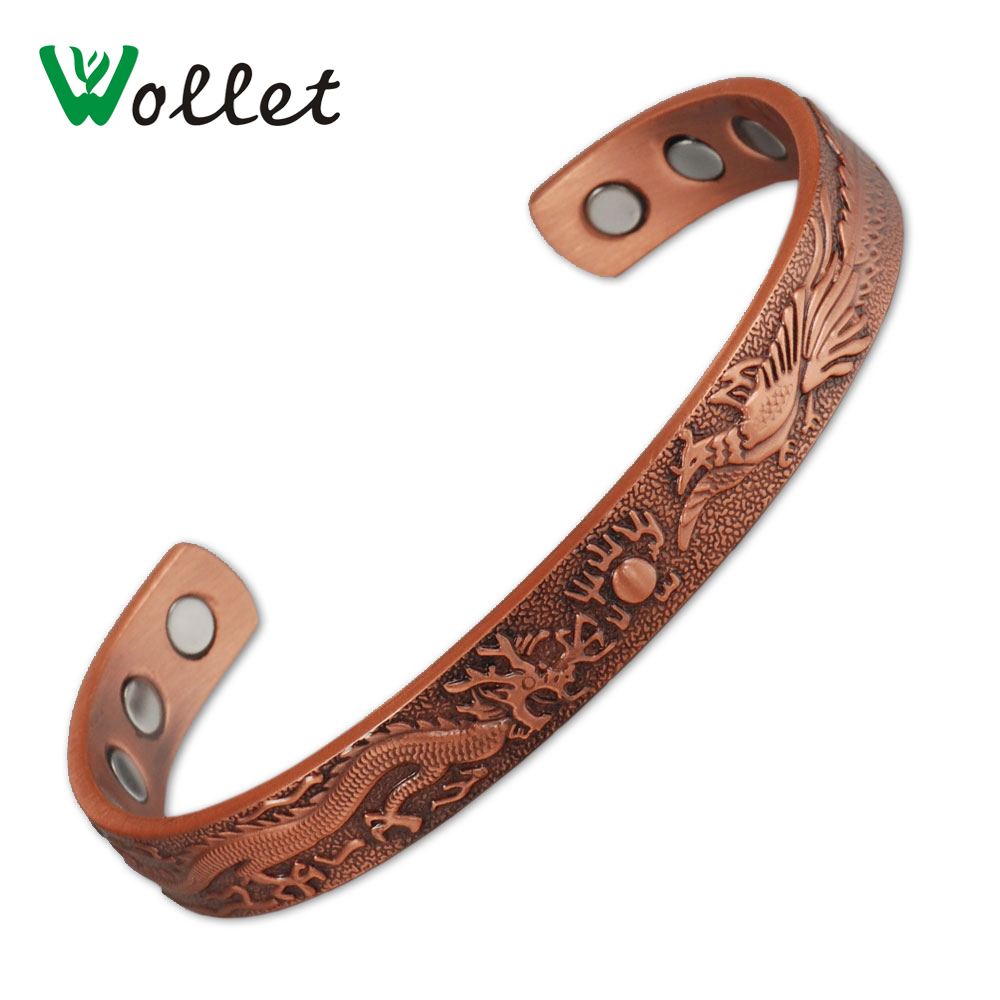 Wollet Jewelry Vintage China Design Dragon Phoenix Lucky Health Magnetic Copper Cuff Bangle Bracelet for Men Women