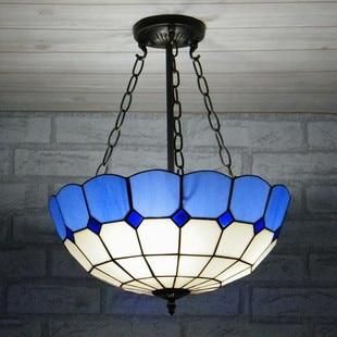 16inch European style Mediterranean blue white color pendant light bar room restaurant hang lamps