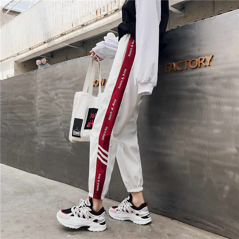 New Women Casual Letter Pants Spring Autumn Long Trousers Solid White Black Elastic Waist Pants Ankle Length Loose Haren Pants