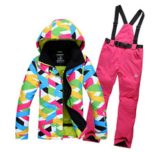 High-quality outdoor New Womens Winter Skiing Jackets Windproof waterproof warm Colorful Top Quality ski suits and ski pants