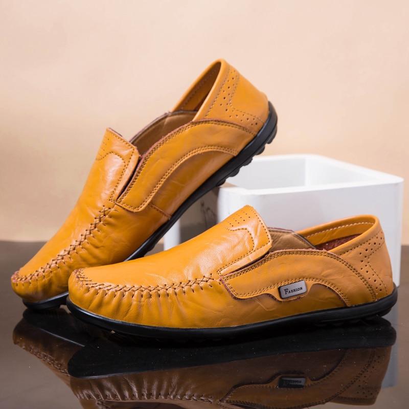 Plus Storlek Män Casual Skor Äkta Läder Moccasin Loafers Designer - Herrskor - Foto 6