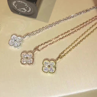 925 Sterling Silver Jewelry For Women Necklace Classic Clover Fine Jewelry Romantic Four Leaf Clover Necklace