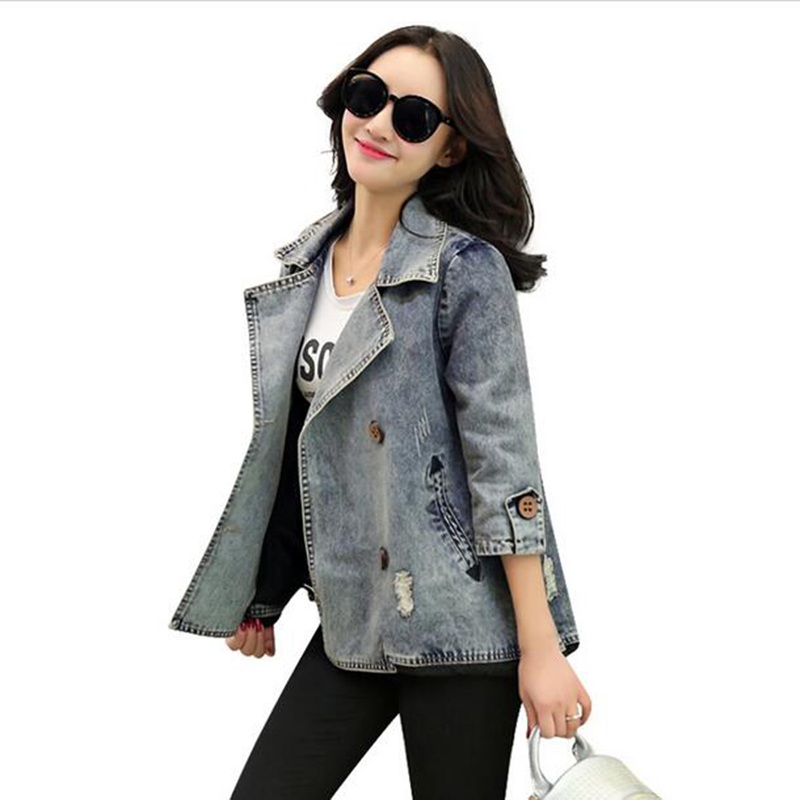 Women 2017 Fashion Spring   Basic     Jacket   New Arrival Denim   Jacket   Women Plus Size Jeans   Jacket   Coat Tops pocket LU275