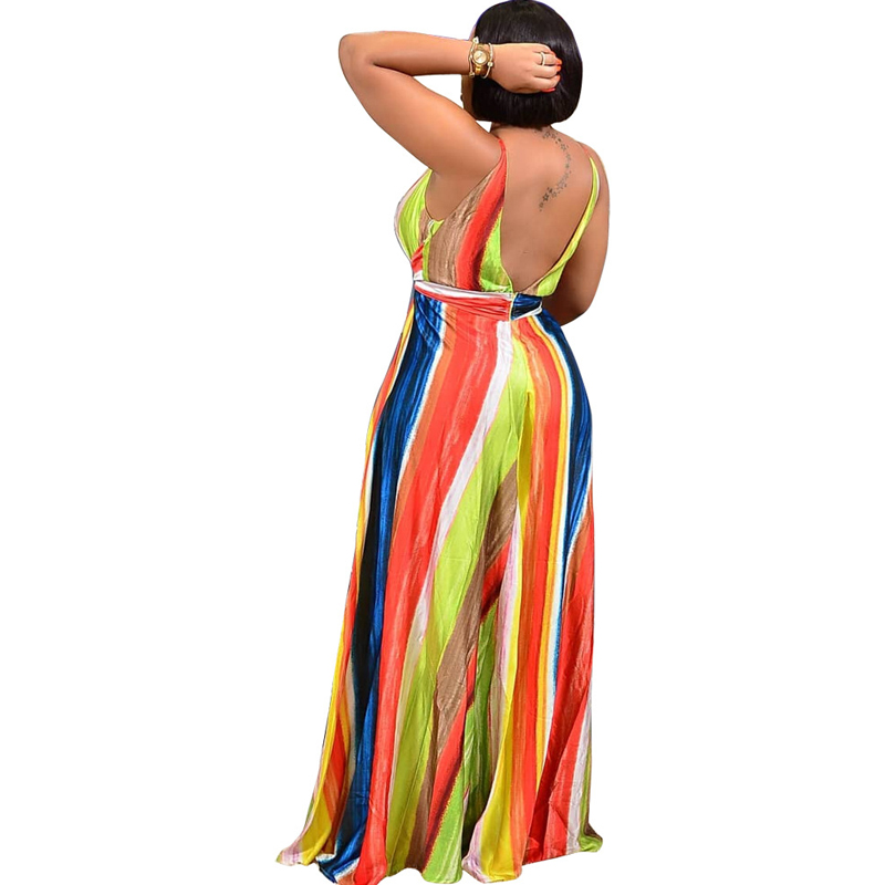 Sexy V neck split color striped strap dress summer new women 39 s fashion casual dress in Dresses from Women 39 s Clothing
