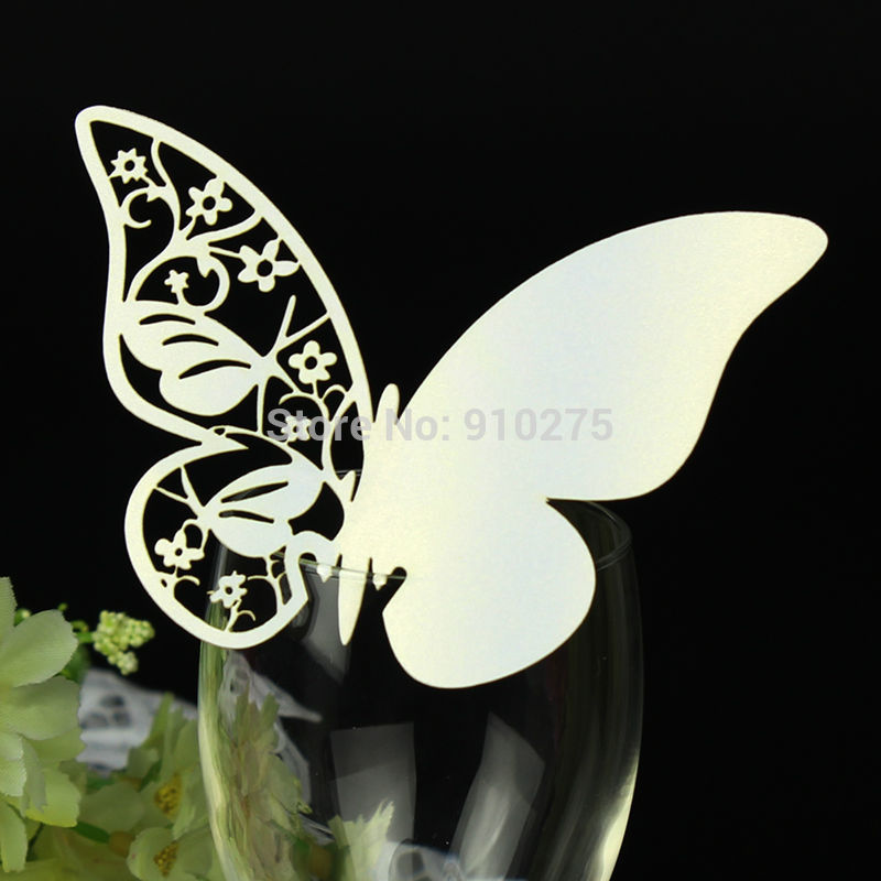 50pcs white Laser Cutting Butterfly Floral Design Place Cards/ Table Name Number Cards/ Wedding Banquet Party Decoration