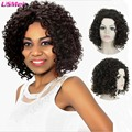 "afro kinky wigs medium curly synthetic wig 17""dark brown ombre wigs good quality pixie cut wig natural hair wigs looks as real"