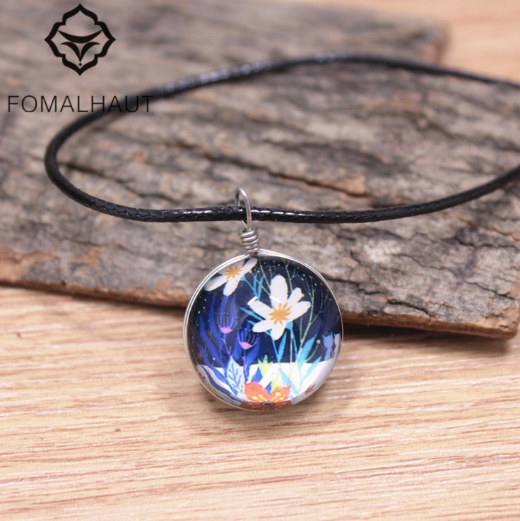 Fomalhaut lily flower jewelry crystal glass ball necklace