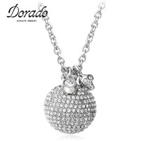 Dorado Luxury Fine Jewelry Rose Gold Silver Color Long Chain Skull Head Ball Pendant Necklaces With
