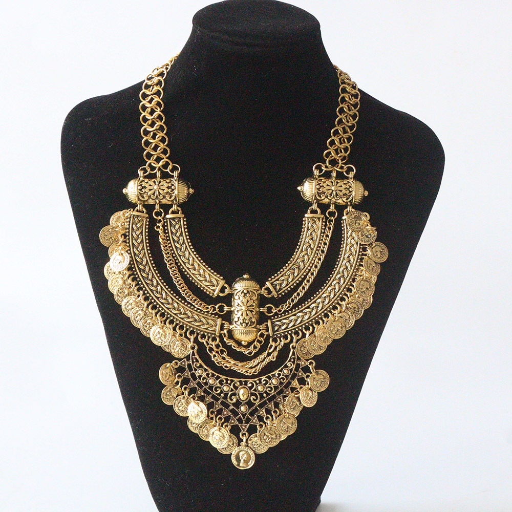 Bohemian Power Necklace Collar Choker Gold Necklace Vintage Gypsy Ethnic Statement Necklace Maxi Jewelry For Women 2018 Fashion vintage knitted choker necklace