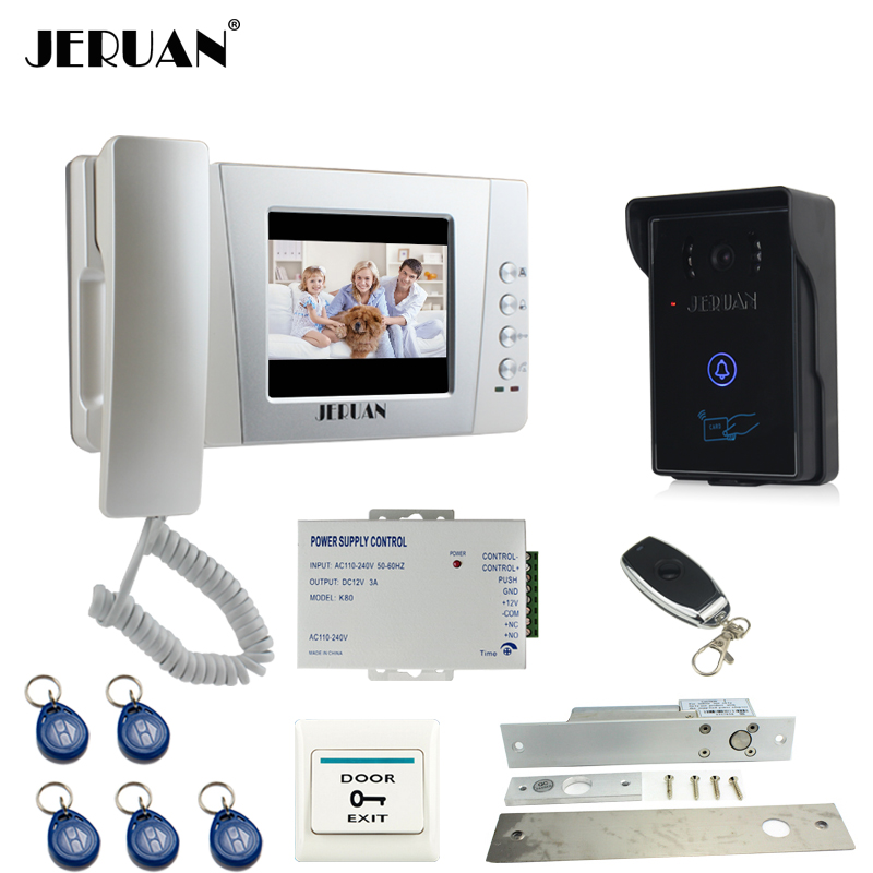 JERUAN Home 4.3`` LCD Video Door Phone intercom System Kit 700TVL RFID Waterproof IR Night vision Camera remote control keyshare dual bulb night vision led light kit for remote control drones