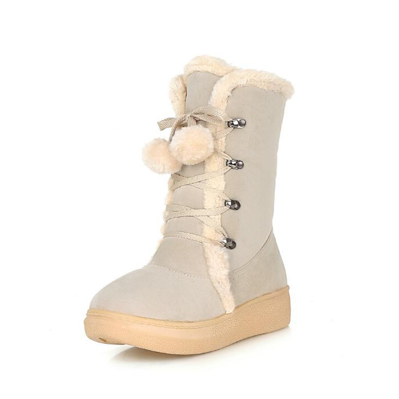 Women boots 2017 new arrivals thick plush winter shoes fashion lace-up non-slip mid-calf women snow boots plus size 34-43 new arrivals bandage shoes woman winter women boots fur plush lace up snow boots ankle boots