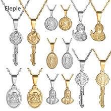 Eleple Religion Virgin Mary Titanium Steel Necklace Men Women Maria Retro Figure Clavicle Chain Jewelry Dropshipping S-SFL0904
