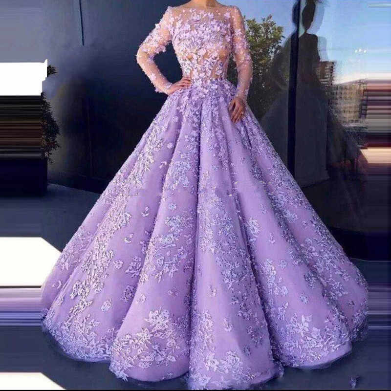 Lavender Vestido De Noiva 2019 Muslim Wedding Dresses Ball Gown