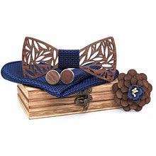 Floral Wooden Bow Tie Set for Men Handkerchief Bowtie Necktie Hollow Butterflies Wedding Suit Accessories Wood Carved