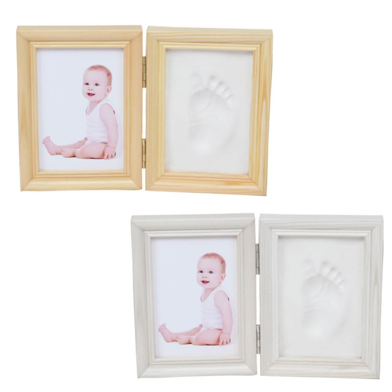Folding DIY Baby Hand Foot Print Pictures Display Wood Photo Frame Souvenirs Commemorate Kids Growing Memory