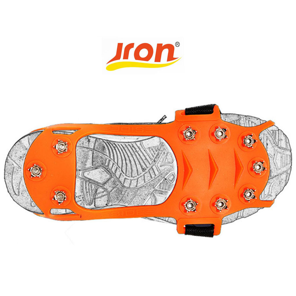 Jron 10-Teeth Traction Cleats for Walking on Snow and Ice Anti-slip Shoes Spikes Grips Cleats Crampons Climbing Ice Gripper 1 pair ice gripper slipproof strong ice crampons skiing crampons shoes snow walker for snow mountain climbing walking bag