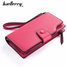 Fashion Baellerry Women Wallet Female Oil Wax PU Leather Long Cell Phone Pocket Pink For Girl Big Top Quality Purse
