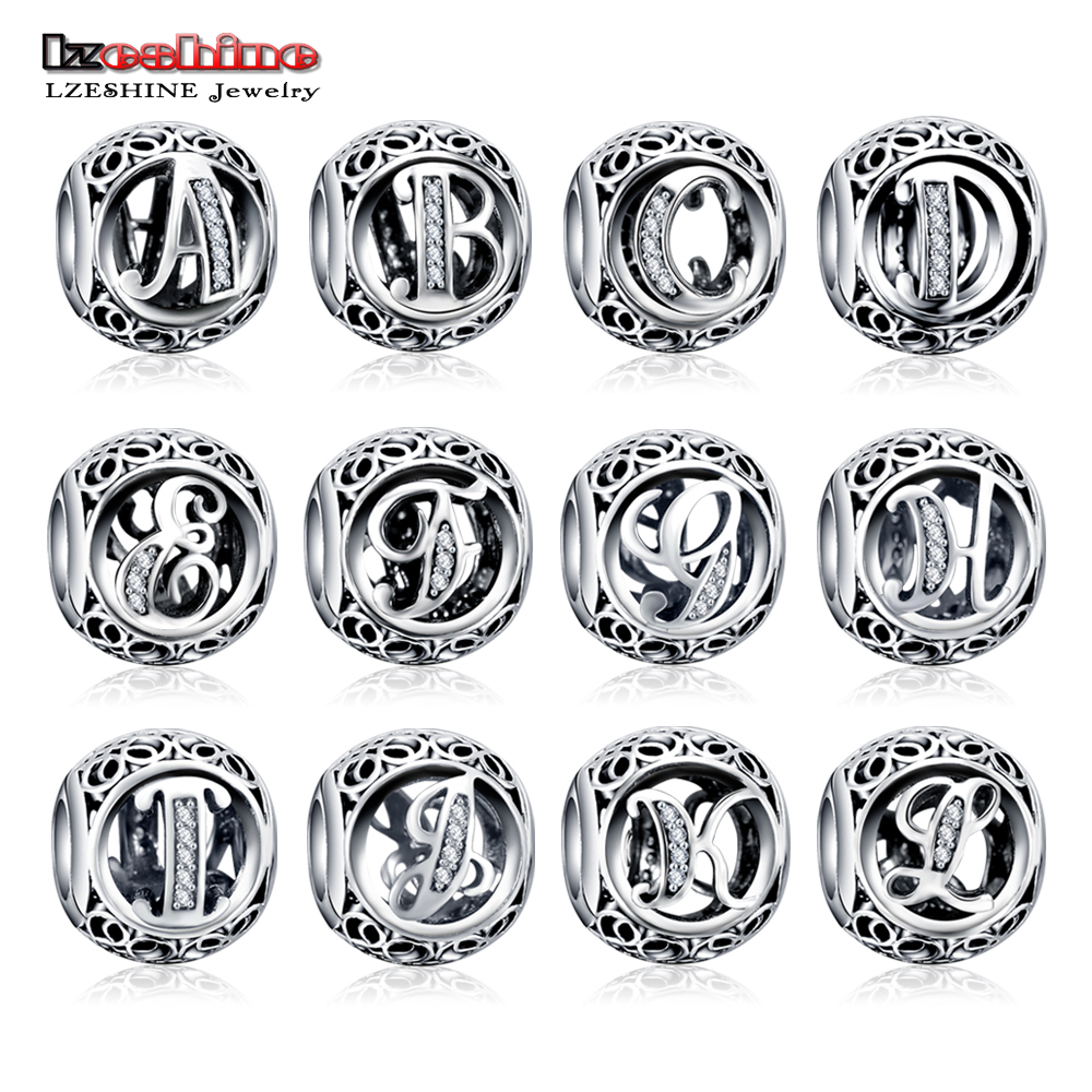 LZESHINE 100% Authentic Sterling Silver 925 Crystal Alphabet Letter A Z Bead Charm Fit Original Pandora Charm Bracelet PSMB0634