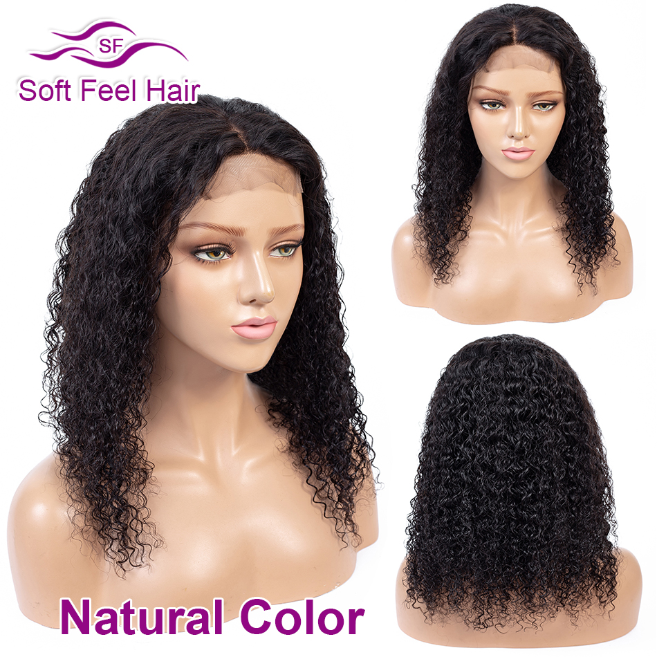 Soft Feel Hair 4*4 Ombre Lace Closure Wig Remy Human Hair Closure Wigs For Black Women Brazilian Kinky Curly Wig Middle Ratio
