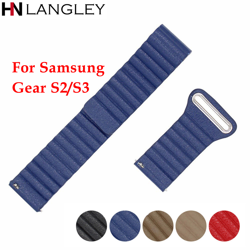 20/22 mm Magnetic Genuine Leather Watch Bands For Samsung Gear S3 Classic Frontier S2 Classic Strap Quick Release Bracelet Samsung Gear S3
