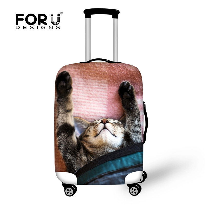 FORUDESIGNS Travel on Road Kawaii Animal Sleep Cat Pattern Luggage Protective Cover for 18- 30 Inch Suitcase Travel Accessories ...