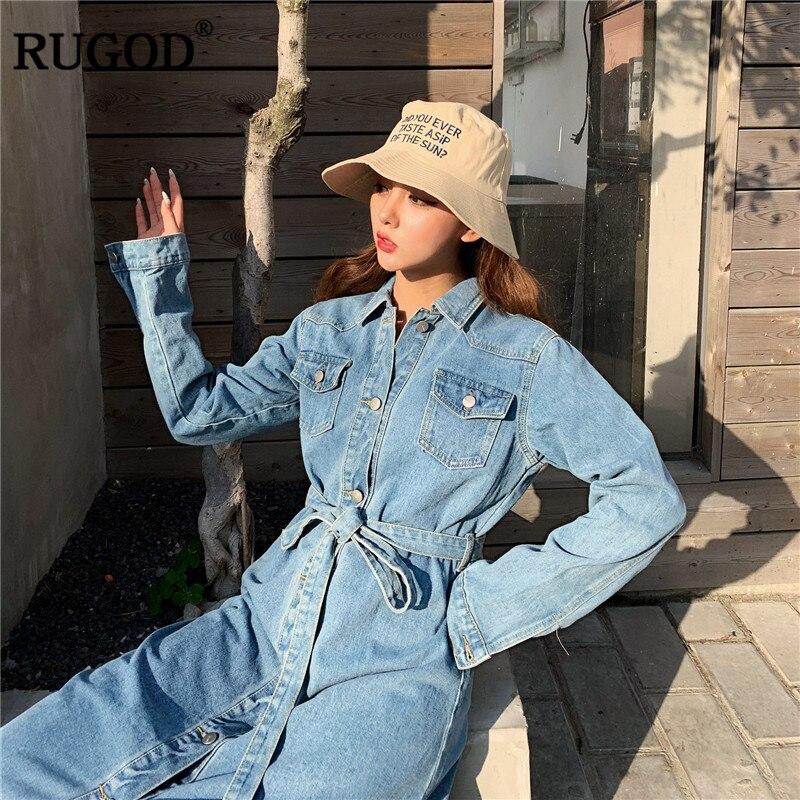 RUGOD 2019 mode femmes denim robe jeans manches longues solide mi-mollet une ligne lâche taille haute modis femme vestido sukienki