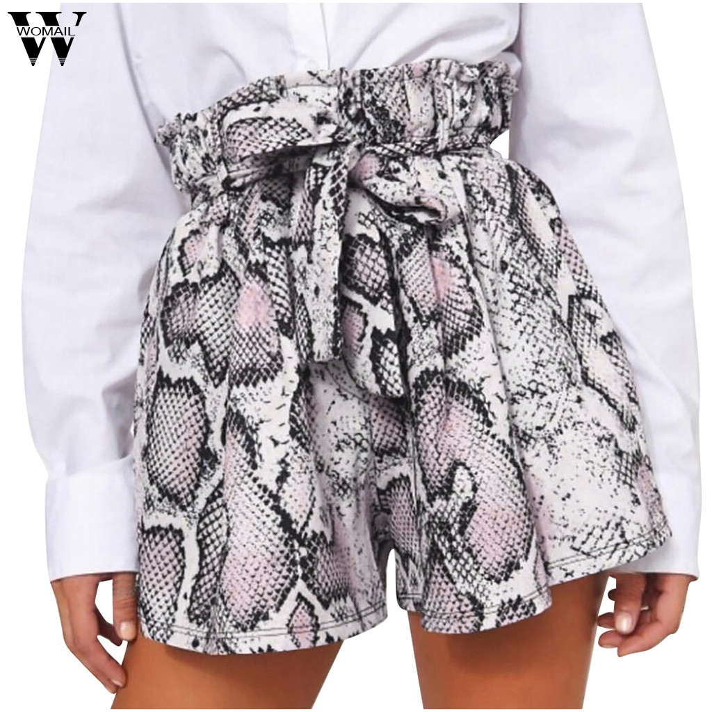Womail Short Summer Women High Waist Sexy Lacing Sexy Snake Print  Shorts For Female Skinny Lace Up Fashion NEW 2019 M524
