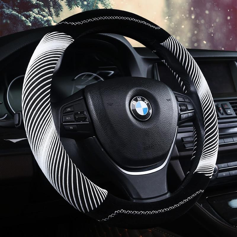 цена 3D Helix Line Steering-wheel High Quality Velvet Steering Wheel Cover Car Styling ,