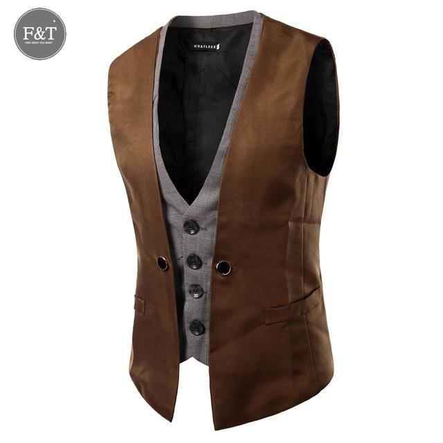 [Asian Size] British Style Slim Fit Mens Dress Vest Waistcoat Casual Blazer False Two Vest Double Breasted Vests Mens Suit Vests