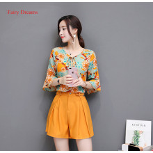 Fairy Dreams 2 Piece Set Women Costume Print Shirt Suits The Feminine Tops And Yellow Pants 2017 Summer Casual Plus Size Clothes