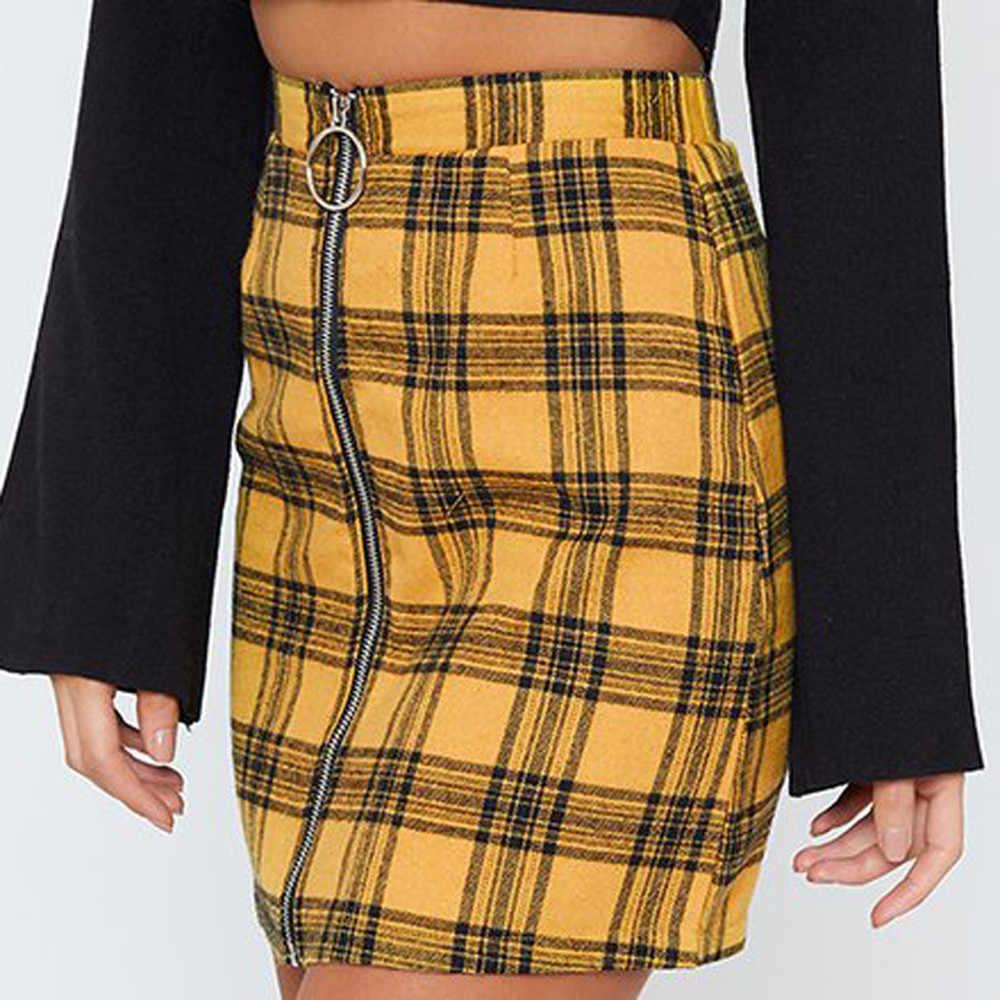 673b2c4de ... Womens Sexy Party Plaid Zipper Wooden Ear Slim High Waist Hip Short  Mini Skirt Modis Sexy ...