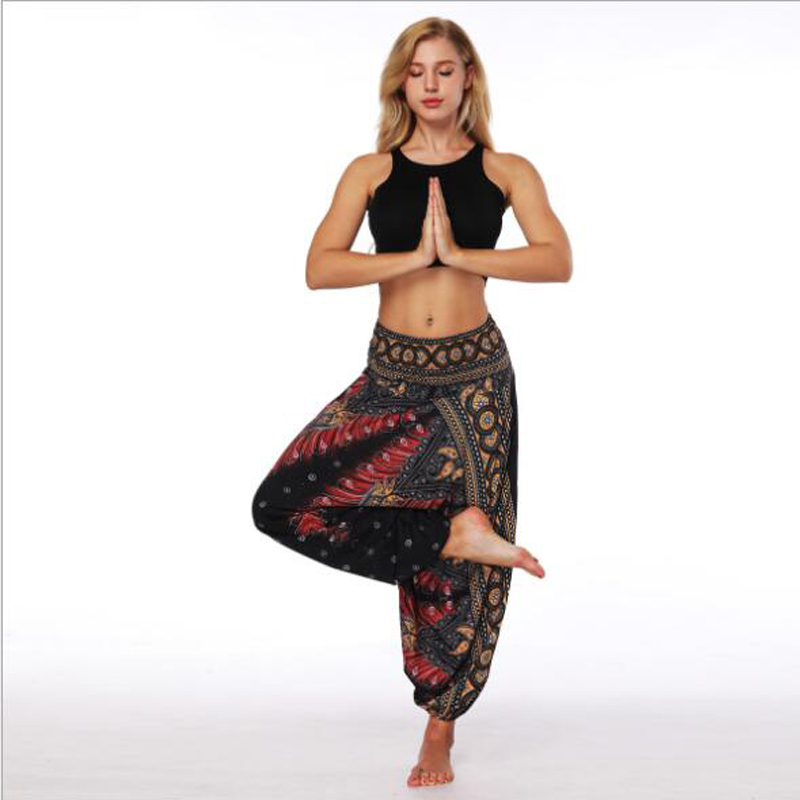 European And American Women's Dance Pants Thailand Indonesia Style Digital Printing Loose Wide Leg Trousers Bohemia Pants