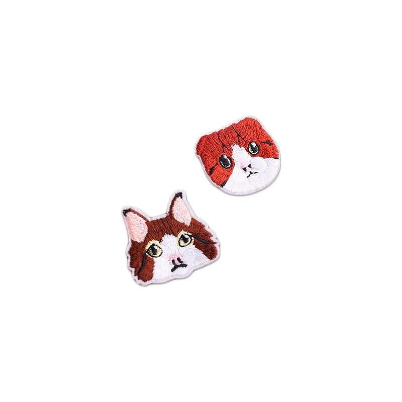 Wysokiej jakości haft głowa kota łatka odzież dziecięca łatka dekoracja plecaka mała aplikacja małe żelazne na łacie