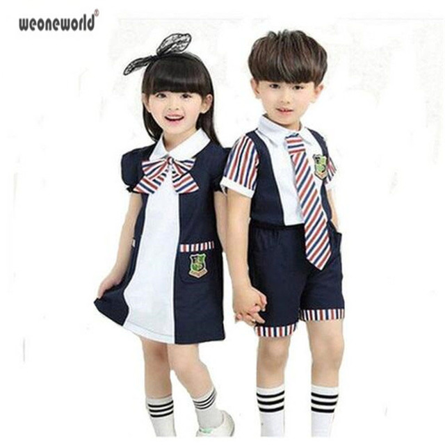 125b998198d WEONEWORLD New Children School Uniforms for Girls and Boys Summer Kids  Stripe Bow Tie Shirt +