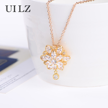 BELLA Elegant Princess Flower Marquise Cut CZ Diamond Bridal Pendant Necklaces For Party / Wedding