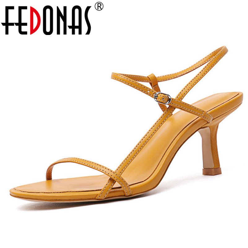 FEDONAS Fashion Casual Sandals For Women Buckle Strap Summer Female High Sandals Rome Style Genuine Leather